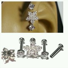 "Triple Forward Cartilage Tragus Helix CZ1/4"" 18g Stud Earring Prong Flower Clear"