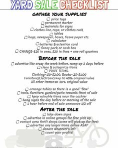 Free Printable Yard Sale Checklist to help you organize you next garage sale. Garage Sale Signs, Yard Sale Signs, Garage Sale Pricing, For Sale Sign, Garage Sale Organization, Organization Ideas, Rummage Sale, Free Printables, At Least