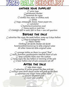 Free Printable Yard Sale Checklist to help you organize you next garage sale.