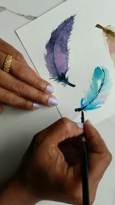Click the Link to Buy Watercolor Paint for Your Art Work... #Watercolor #WatercolorArt #WatercolorPainting Watercolor Art Lessons, Watercolor Painting Techniques, Watercolour Tutorials, Watercolor Paintings, Watercolour Pencil Art, Watercolours, Watercolor Feather, Feather Painting, Feather Art