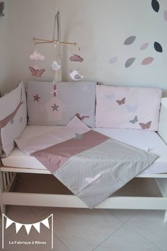 Couverture bébé rose poudré gris vieux rose en coton et percale de soie - face en polaire Minky gris foncé : Linge de lit enfants par la-fabrique-a-reves