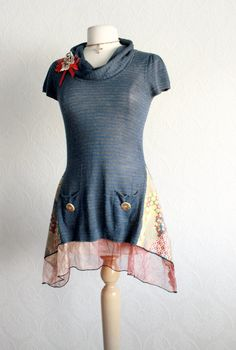 Navy Blue Recycled Tunic Top Bohemian Clothes Cowl Neck Sweater Women's Long Shirt Eco Friendly Ladies Clothing Small 'LOIRE'. $59.00, via Etsy.