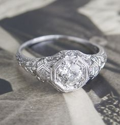 Art Deco Cardinal Diamond Ring, $5500.