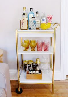 Bar Cart from Ikea cart | Ikea Hack | Bar Cart Styling Tips | see, love, covet