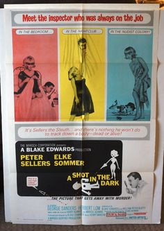 "Movie Poster  ""A Shot In The Dark""  RARE  Original One-Sheet  1964 by MoviePostersAndMore on Etsy"