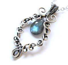 Labradorite Pendant Necklace - Silver Wire Wrapped Blue Flash Teardrop Marquise - Elven Elvish Celtic