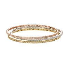 Diamond Essence Crystal & Diamond Accent 18k Gold Over Silver Two Tone & Sterling Silver Bangle Bracelet Set- Made With Swarovski Elements