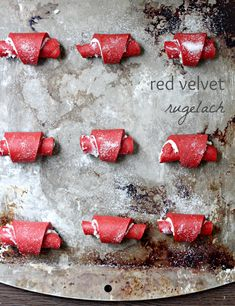 Red Velvet Rugelach - How can you improve on rugelach, the world's most perfect cookie? Make a red velvet rugelach and prepare to be amazed! Rugelach Cookies, Kosher Recipes, Red Food Coloring, Thing 1, Perfect Cookie, Jewish Recipes, Hannukah, Brownie Bar, Cookie Bars