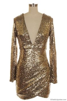 Sequin Long Sleeve Low Cut V-Neck Mini Dress-Gold & Black - Perfect for the holidays and New Year's Eve!