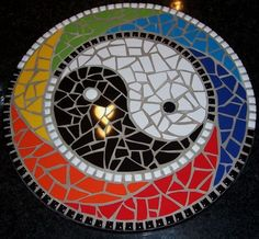 Lazy Susan Yin & Yang Multicolor Tiles