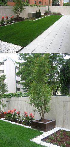 En este diseño Casla juega con la separación de la zona pavimentada con el césped y la piedra. Por Casla Jardineria y Paisajismo