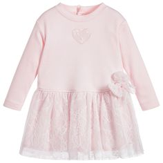 Beautifully soft and comfortable this pale pink Aletta dress is made in lightweight jersey with a lovely fleece feel inside. The skirt has a gorgeous sparkly lace overlay which matches the heart appliqué.   #pink#baby#girl#dress#