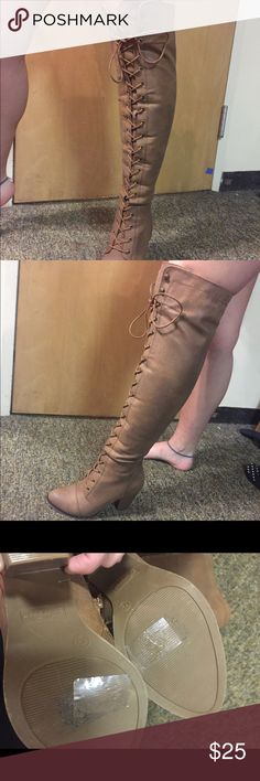 Over The Knee Tan Boots Tan Over the Knee Boots size 7.5 lace up high heel adjustable worn once Shoes Over the Knee Boots