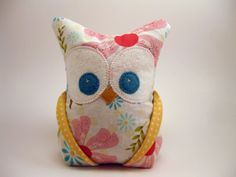 Owl softie with heart embroidered on backside