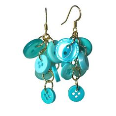 Turquoise Button Cluster Dangle Earrings #handmade #etsy