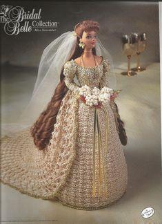 Ganchillo Crochet Barbie Doll ropa nupcial Belle colección