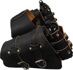 2004-UP Harley-Davidson Sportsters Throw Over Saddle Bag Set Rustic Black with Twin Fuel Bottle Holders - La Rosa Design Corp