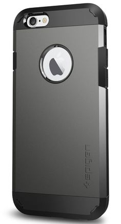"""Spigen Tough Armor iPhone 6 Case with Extreme Heavy Duty Protection and Air Cushion Technology for iPhone 6S / iPhone 6 - Gunmetal. Intense fortification = Dual layers + Air Cushion Technology [U.S. Patent No. D747306]. Anti-stretch TPU + durable polycarbonate. 0.7mm lip and 4-point rear guards for front & back panel protection. Military-Grade Protection MIL-STD 810G 516.6. iPhone 6 Case Black Compatible with Apple iPhone 6 (4.7"""") - 2014."""