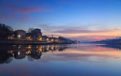 Saône Dusk - The air pollution in Lyon had a 'positive' side effect: a very colorful dawn. Here seen from Île Barbe Island, in the Saône river.