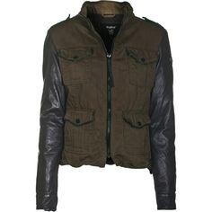 TIGHA Chloe Twill Black Khaki Biker jacket with leather sleeves ($230) found on Polyvore