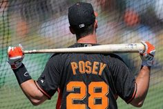 SCOTTSDALE, AZ - MARCH 15: Buster Posey #28 of the San Francisco Giants takes batting practice before the spring training game against the Oakland Athletics at Scottsdale Stadium on March 15, 2014 in Scottsdale, Arizona. The A's defeated the Giants 8-1. (Photo by Christian Petersen/Getty Images)