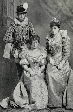 Prince and Princess Carl of Denmark, later King Haakon VII (1872-1957) and Queen Maud of Norway (1869-1938), and Princess Victoria of Wales (1868-1935), as a 16th century Danish courtier, and Ladies-in-Waiting at to Marguerite de Valois: 1897, at the Devonshire House Fancy Dress Ball, 2-3 July 1897, portrait featured on page five in Munsey's Magazine.
