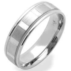 14K White Gold Wedding Bands For Men 6MM Diamond-Cut Patterned Ring , Size 10 $442.00 mens wedding bands