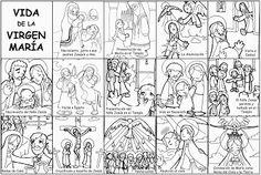 Dibujos para catequesis: VIDA DE LA VIRGEN MARÍA Nativity Advent Calendar, Dual Language Classroom, Bible Resources, Catholic Crafts, Religion Catolica, Sunday School Crafts, Bible For Kids, Sacramento, Blog