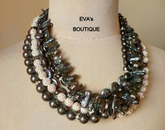 Rich large 5 strand statement necklace with black pearls by evarugina, €110.00