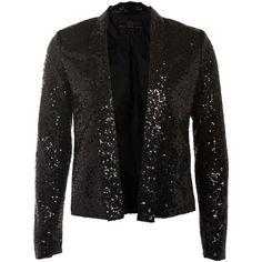 Black Sequin Tuxedo Blazer ($30) ❤ liked on Polyvore