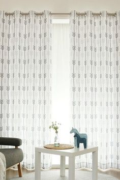 White Sketched Arrow Printed Privacy Curtains - Set of 2