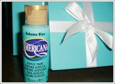 Americana Bahama Blue Acrylic Paint for Tiffany Blue  | Breakfast at Tiffany's - DIY table decorations