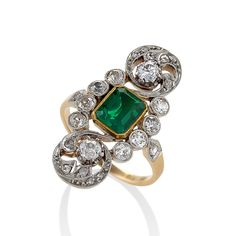 English Edwardian Emerald, Diamond, Platinum and Gold Plaque Ring offered by Macklowe Gallery, Ltd on InCollect Edwardian Jewelry, Antique Jewelry, Vintage Jewelry, Emerald Diamond, Diamond Cuts, Emerald Cut, Green Engagement Rings, Art Nouveau, Gold And Silver Rings