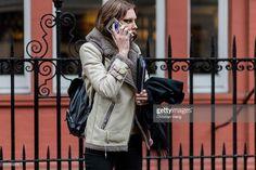 Model Allyson Chalmers seen outside Julien Macdonald during London Fashion Week Autumn/Winter 2016/17 on February 20, 2016 in London, England, leather jacket, leather outerwear, black backbag, fall winter, street style
