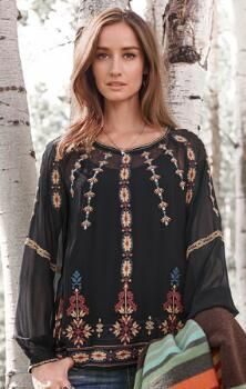 This elegant, embroidered silk top is perfect for evenings out or entertaining at home.