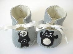Halloween Baby Booties with super cute Monster by funkyshapes, $28.95