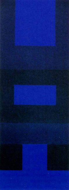 "Ad Reinhardt ""Abstract Painting, Blue""  1952.  Wanted to stay away from what they were told about abstract impressionism.. fits into that category as well as minimalism.  Tower shape."