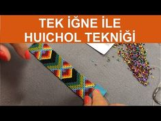 How to study huichol knitting technique with new method single needle Bead Jewellery, Beaded Jewelry, Bead Earrings, Bead Loom Patterns, Beading Patterns, Embroidery Jewelry, Beaded Embroidery, Beaded Bracelets Tutorial, Peyote Beading