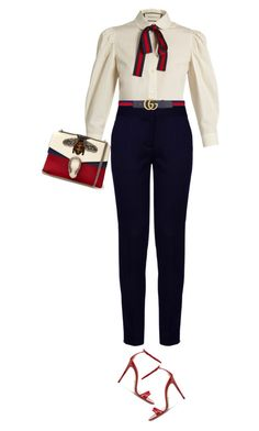 """Gucci In The Office"" by marion-fashionista-diva-miller ❤ liked on Polyvore featuring Gucci, STELLA McCARTNEY, gucci, officewear, businessattire and bossLady"