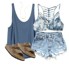 """plainnn"" by racheld24 ❤ liked on Polyvore featuring RVCA, Birkenstock and Wish by Amanda Rose Beach Ootd Summertime, Summer Ootd Beach, Summer Beach Fashion, Summer Days, Summer Wear, Spring Summer Fashion, Casual Beach Outfit, Beach Outfit 2017, Beach Attire"