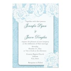 Elegant Blue and White Flowers Wedding Set Personalized Announcement