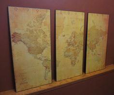 DIY Vintage World Map Wall Art   #diy