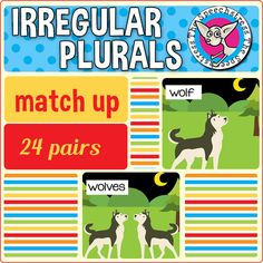 Students learn to label and identify correct irregular plural noun forms through matching singular and plural noun pairs. Co Teaching, Teaching First Grade, Teaching Language Arts, Speech Language Pathology, Speech And Language, Teaching Nouns, Grammar Activities, Language Activities, Speech Therapy Activities