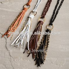 N15060804 Knot Leather Tassel Necklace Boho Jewelry With Beads Rosary Chain Accent