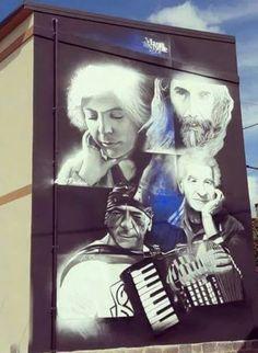 Villamar murale realizzato dall'artista sardo Manu Invisible dal titolo 'Bagliori'.
