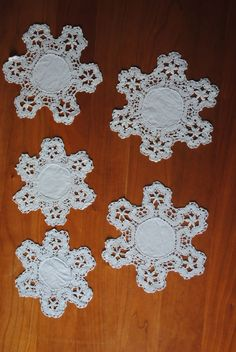 5 Vintage linen coasters With Hand made Needle Lace edging