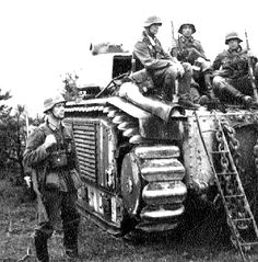 Germans with a captured Char B1 tank