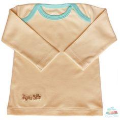 Baby Schlupfhemd beige/eisblau aus seltener Bio Pima Baumwolle.