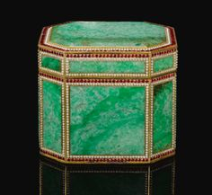 An important Ottoman gem-set, jadeite and tombak-mounted casket, Turkey, Century - Sotheby's Islamic World, Islamic Art, Deep Purple, Victoria And Albert Museum, Antique Boxes, Vases, Pretty Box, Treasure Boxes, Little Boxes
