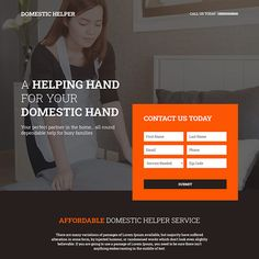 reliable domestic helper service responsive landing page design Best Landing Pages, Phone Service, Landing Page Design, Call To Action, Helping Hands, Family First, Lead Generation, First Names, Lorem Ipsum
